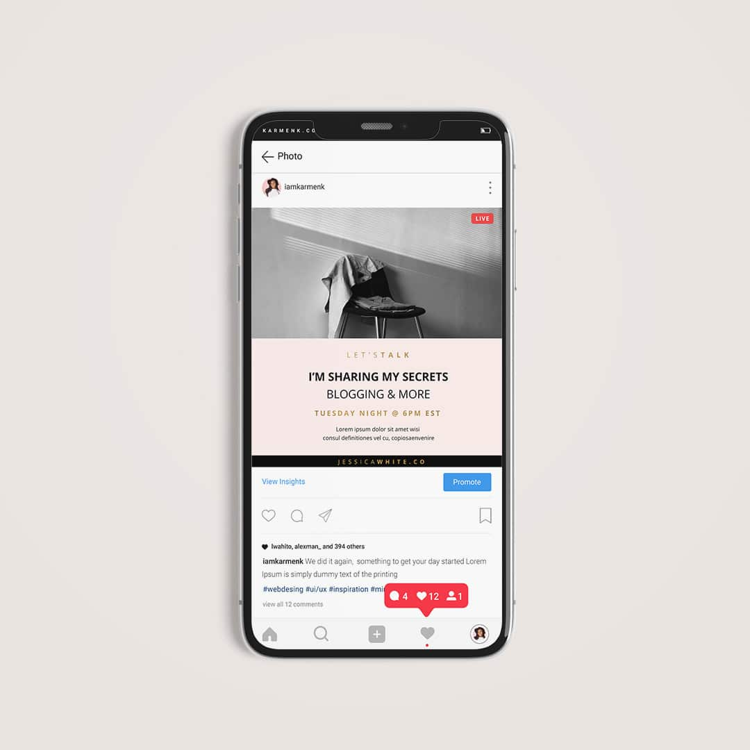 Instagram Live Template free download iphone mockup